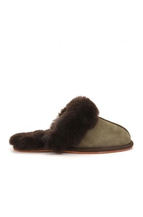 Pegia Unisex House-shoes From Genuine Fur Khaki