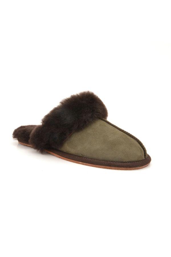 Pegia Unisex House-shoes From Genuine Fur Khaki