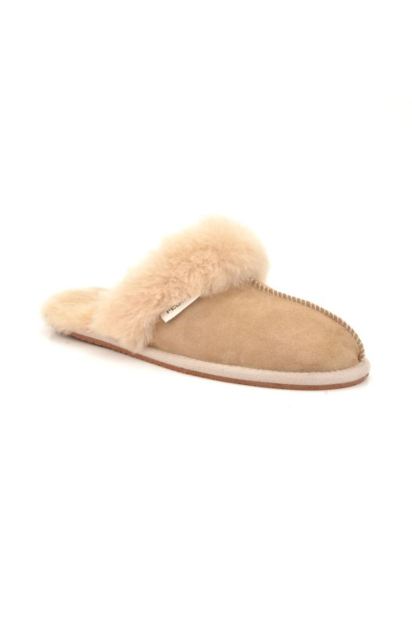 Pegia Unisex House-shoes From Genuine Fur Sand-colored