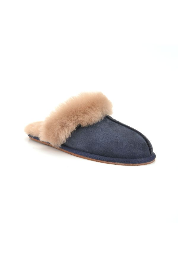 Pegia Unisex House-shoes From Genuine Fur Navy blue