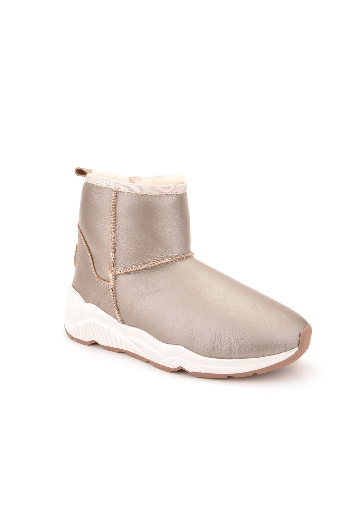 Pegia Women Boots From Genuine Fur With Side Zip Sand-colored