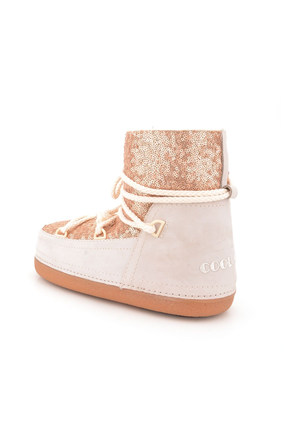 Cool Moon Women Snowboots From Genuine Fur With Sequins Powdery