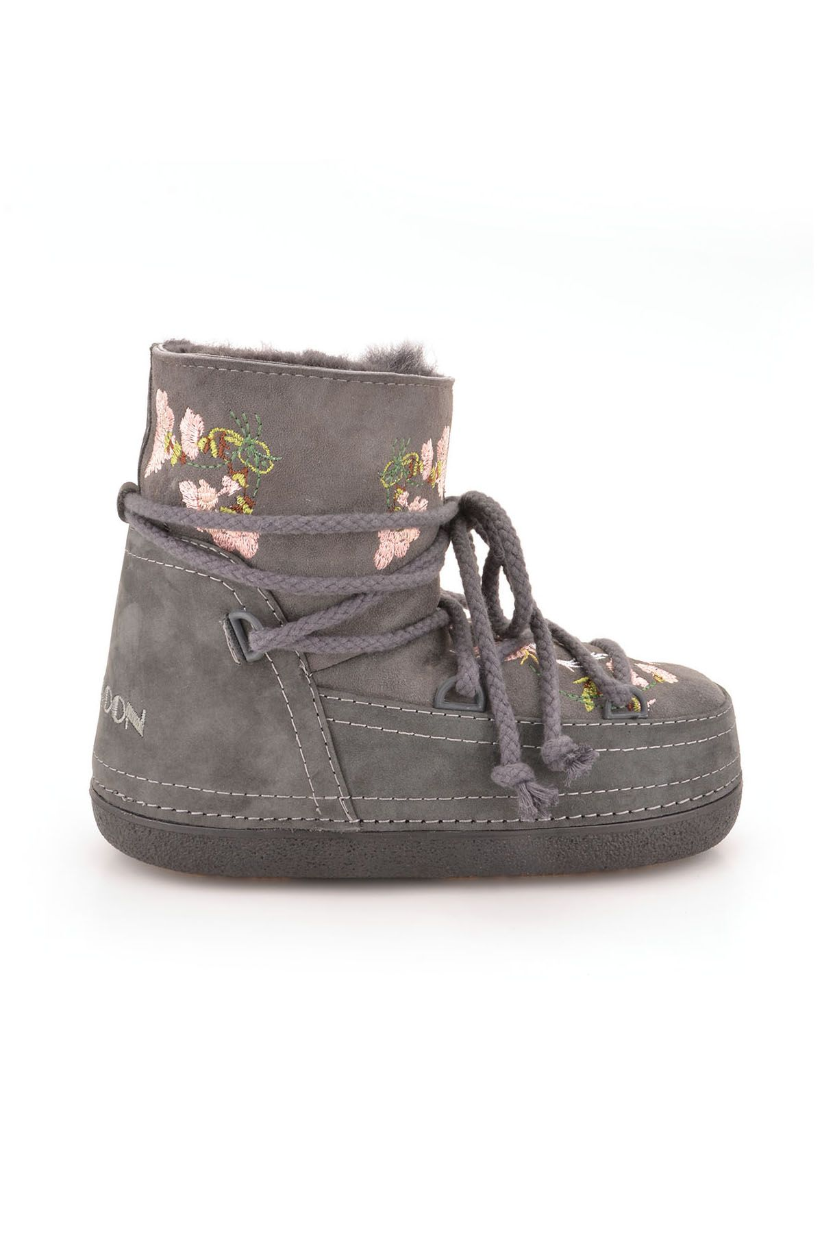 Cool Moon Women Snowboots From Genuine Fur And Suede Decorated With Embroidering Gray