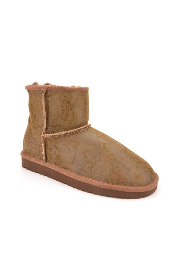 Cool Moon Women Uggs From Genuine Fur With Shawl Pattern Khaki