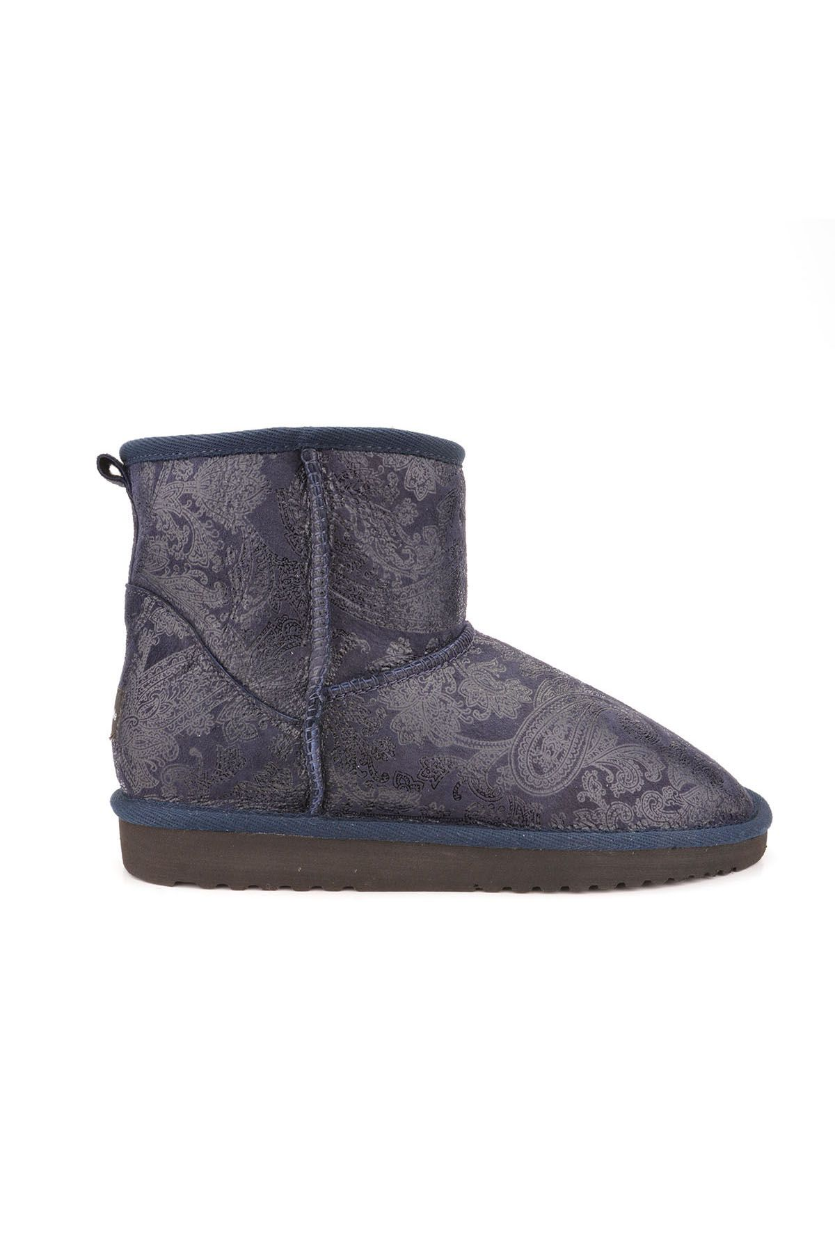 Cool Moon Women Uggs From Genuine Fur With Shawl Pattern Navy blue
