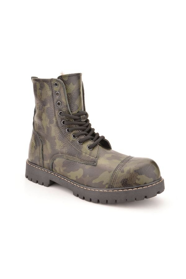 Cool Moon Women Boots From Genuine Leather And Fur With Camouflage Pattern Khaki