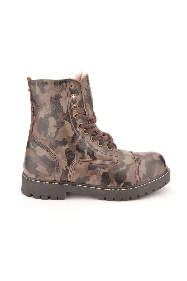 Cool Moon Women Boots From Genuine Leather And Fur With Camouflage Pattern Brown
