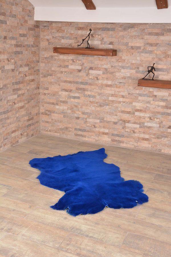 Erdogan Deri Decorative Sheepskin Rug Blue
