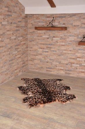 Erdogan Deri Decorative Sheepskin Rug With Tiger Pattern Natural