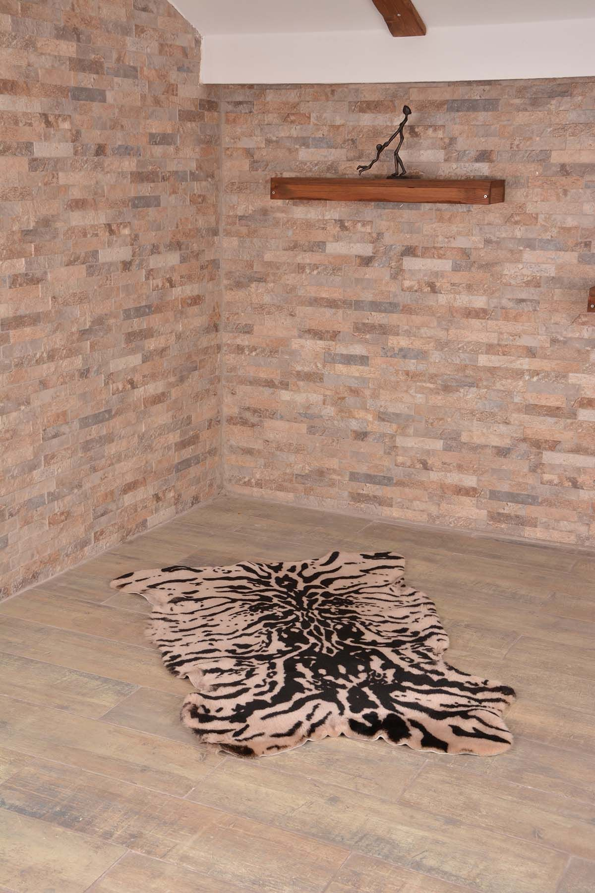 Erdogan Deri Decorative Sheepskin Rug With Zebra Pattern Natural