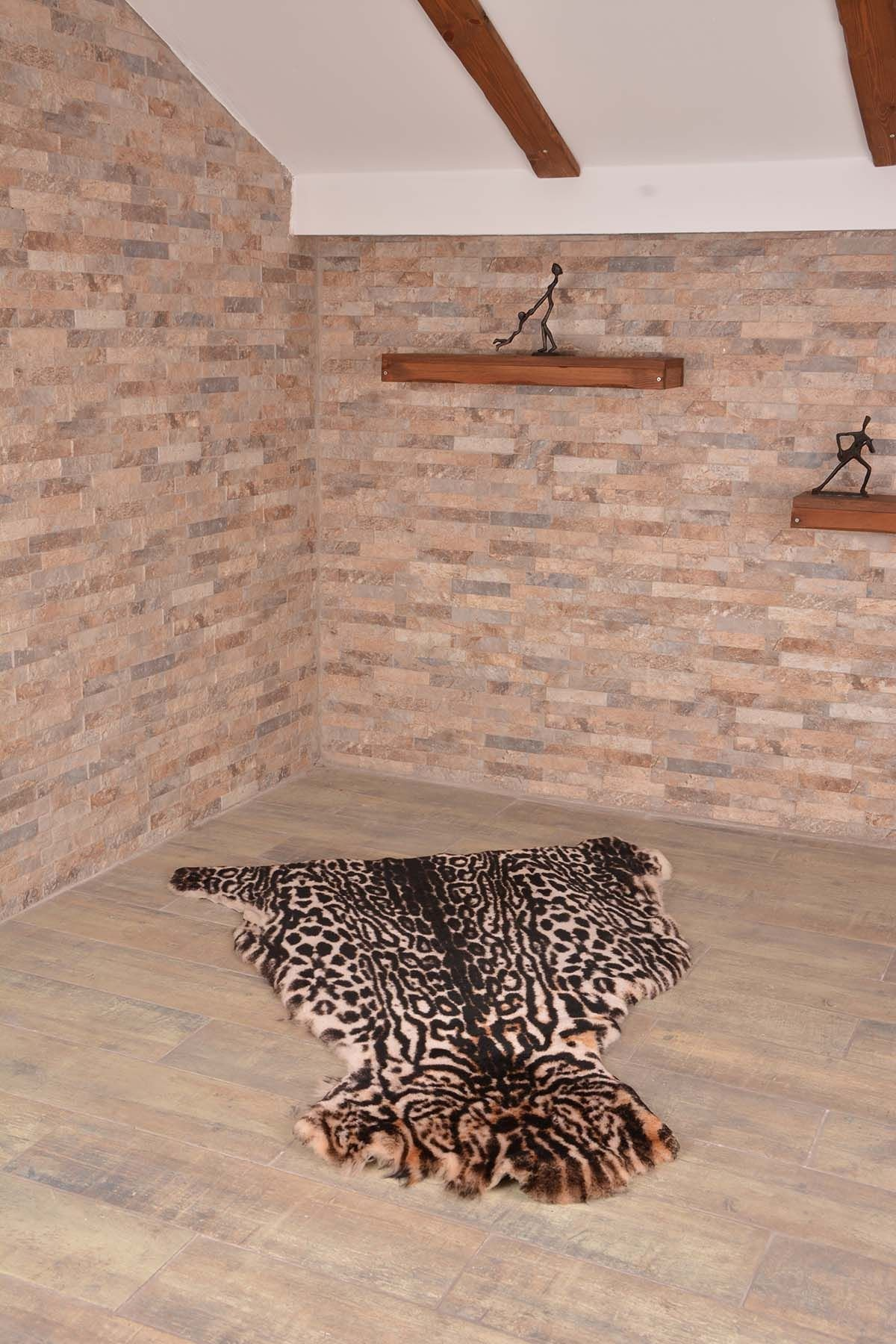 Erdogan Deri Декоративный Коврик Из Натуральной Овчины С Леопардовым Узором Природный