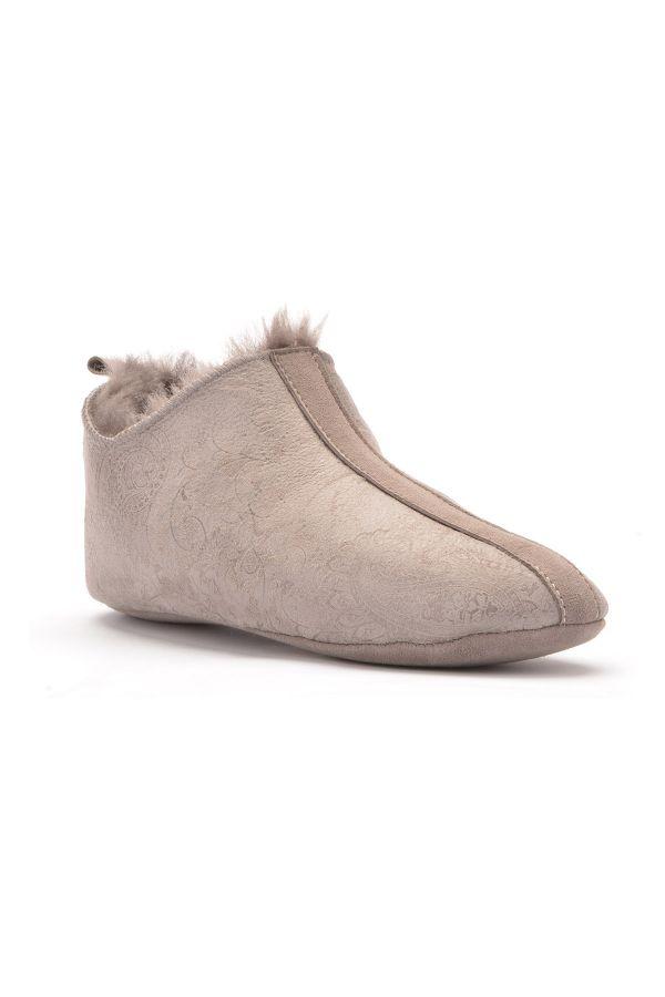 Pegia Hakiki Kürk Kadın Ev Ayakkabısı Açık Gri