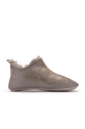 Pegia Hakiki Kürk Desenli Bayan Ev Ayakkabısı Gri