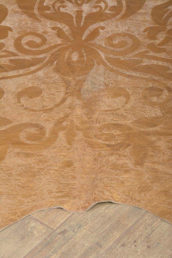 Ergogan Deri Rug From Genuine Buffalo Leather With Pattern Golden