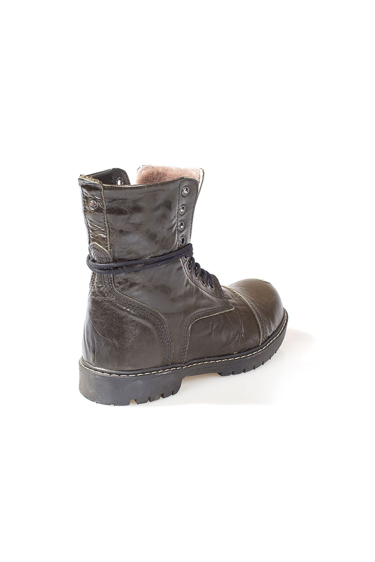 Pegia Vintage Women Boots From Genuine Leather And Fur Khaki