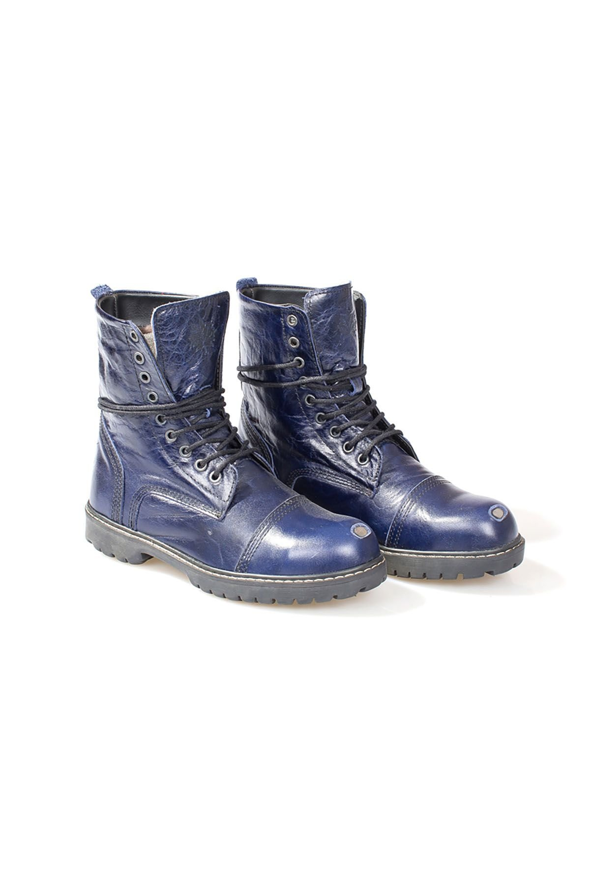 Pegia Vintage Women Boots From Genuine Leather And Fur Navy blue