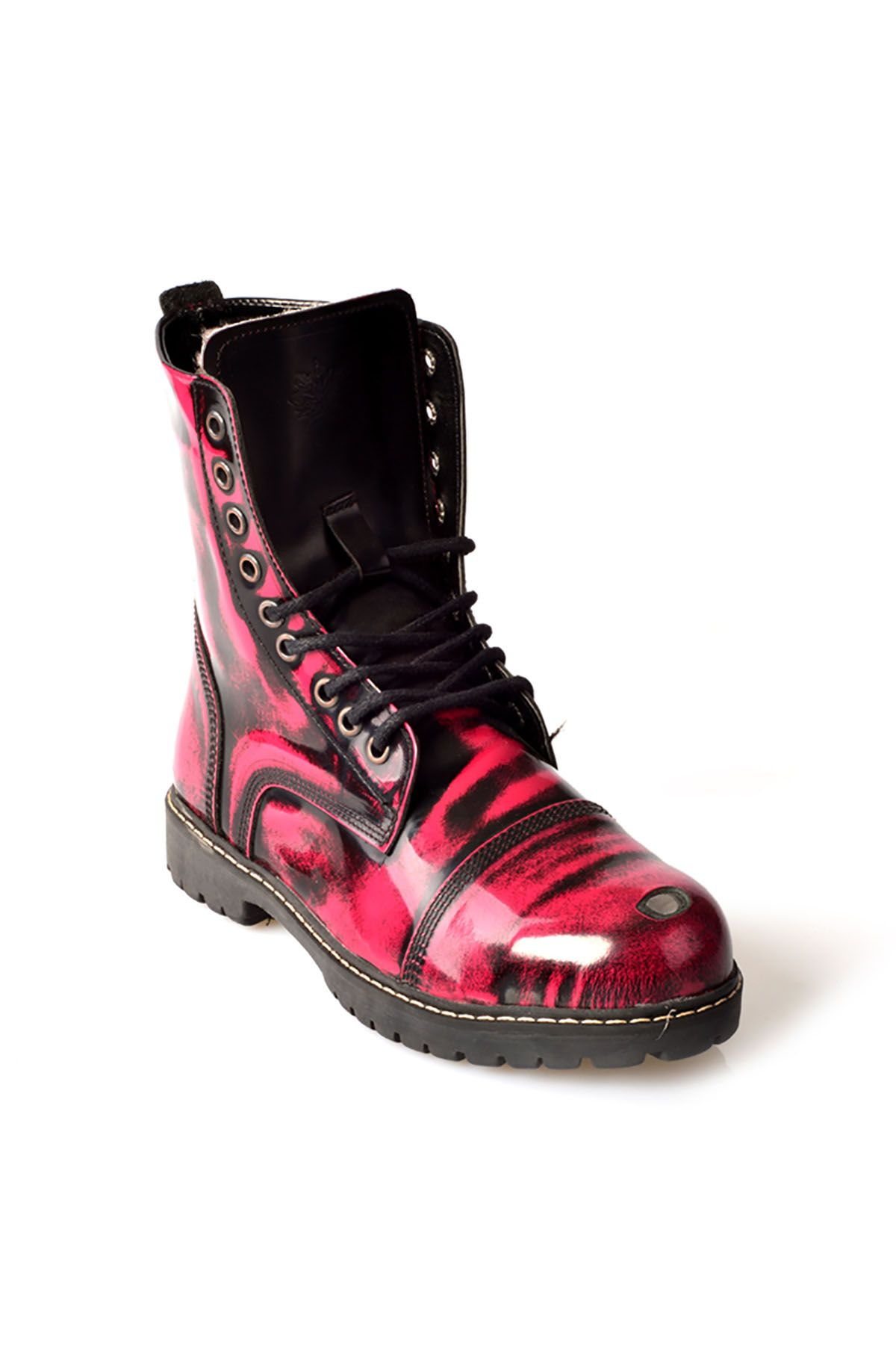Pegia Aged Women Boots From Polished Leather And Genuine Fur Magenta
