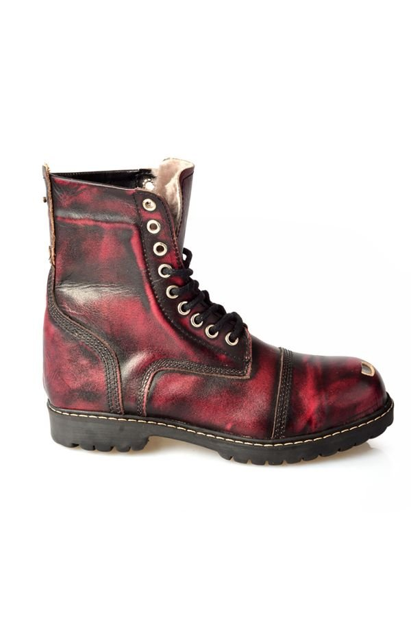 Pegia Aged Women Boots From Polished Leather And Genuine Fur Claret red