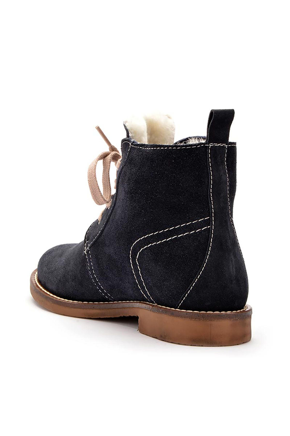 Pegia Laced Women Boots From Genuine Suede & Fur Navy blue