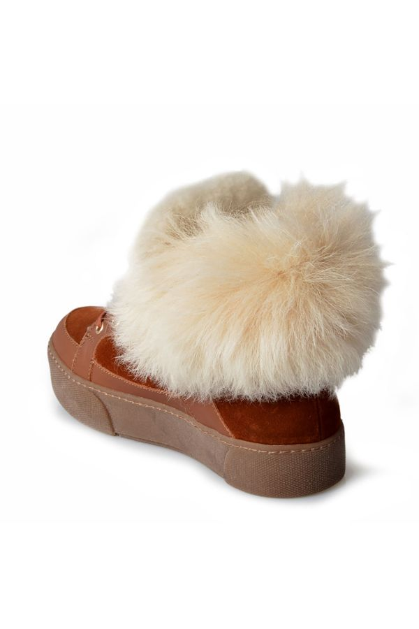 Pegia Women Boots From Genuine Leather Decorated With Genuine Toscana Fur Ginger