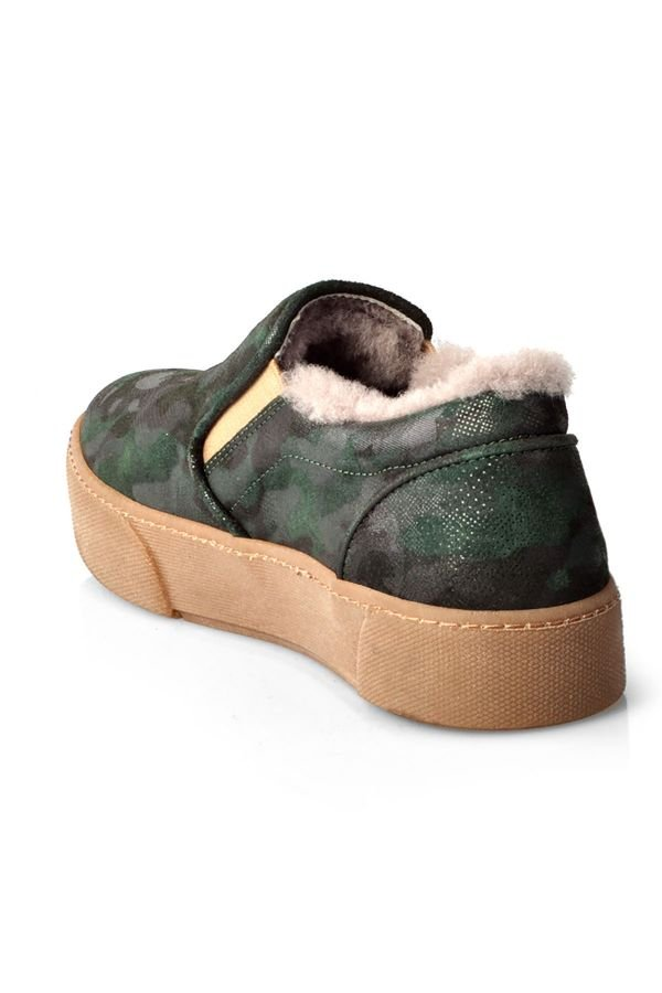 Pegia Camouflage Women Sneakers From Genuine Suede And Fur Green