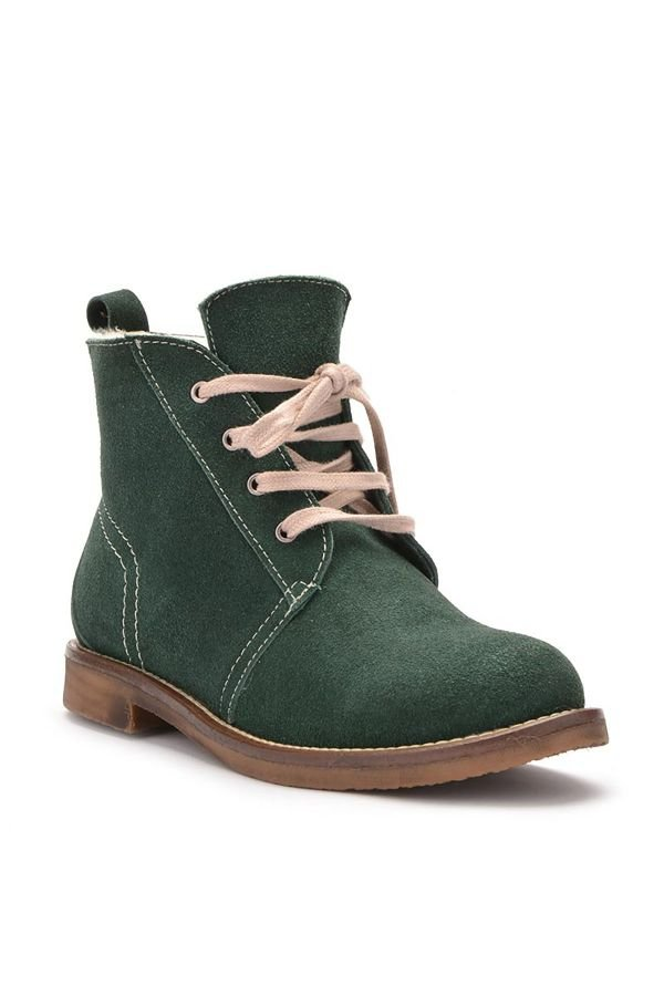 Pegia Laced Women Boots From Genuine Suede & Fur Green