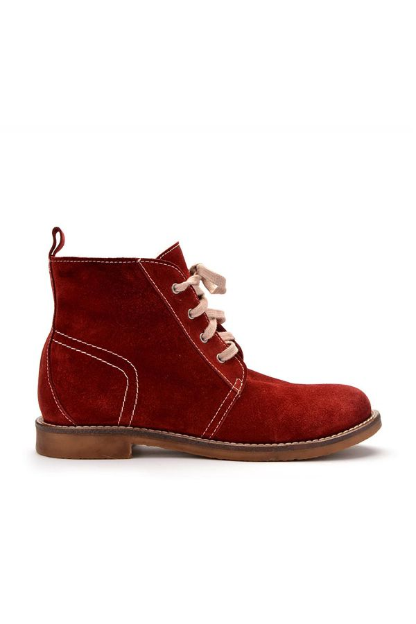 Pegia Laced Women Boots From Genuine Suede & Fur Claret red