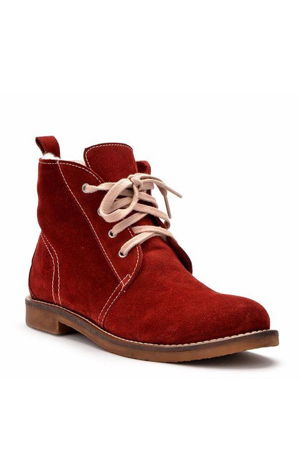 Pegia Шнурованные Женские Ботинки Из Натуральной Замши И Меха Бордовый