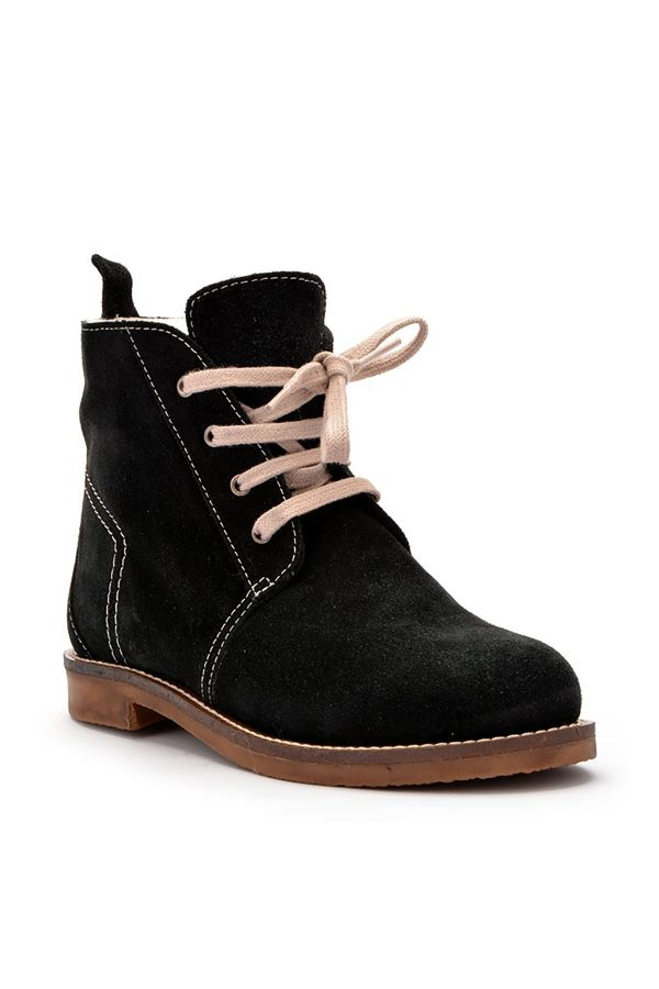 Pegia Laced Women Boots From Genuine Suede & Fur Black