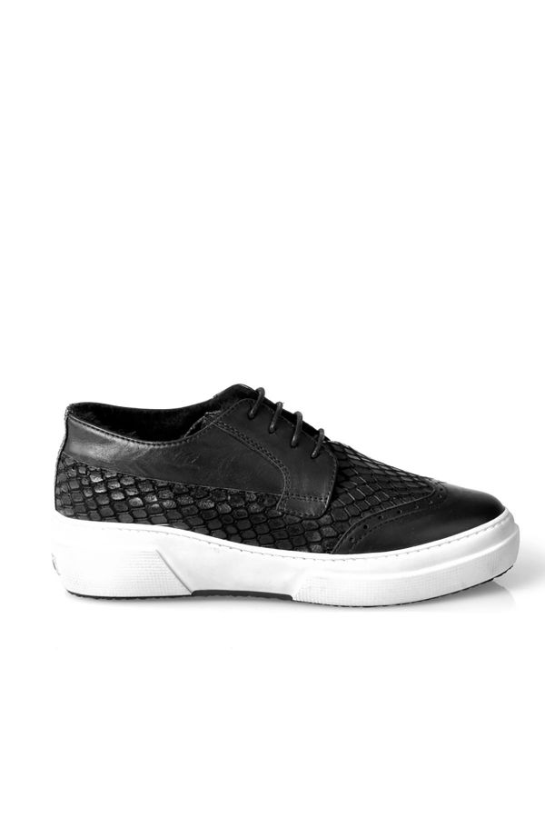 Pegia Women Sneakers From Genuine Leather And Fur With Snake Pattern Black