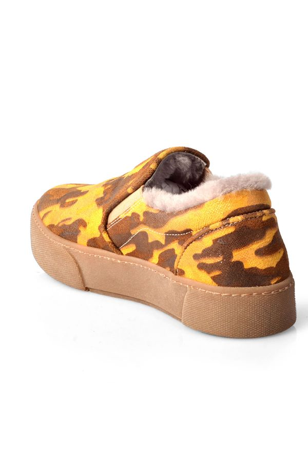 Pegia Camouflage Women Sneakers From Genuine Suede And Fur Yellow