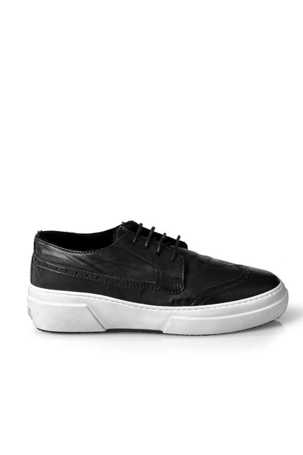 Pegia Hakiki Eskitme Deri İçi Kürklü Sneaker  Siyah