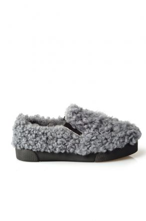 Pegia Women Sneakers From Genuine Fur Gray