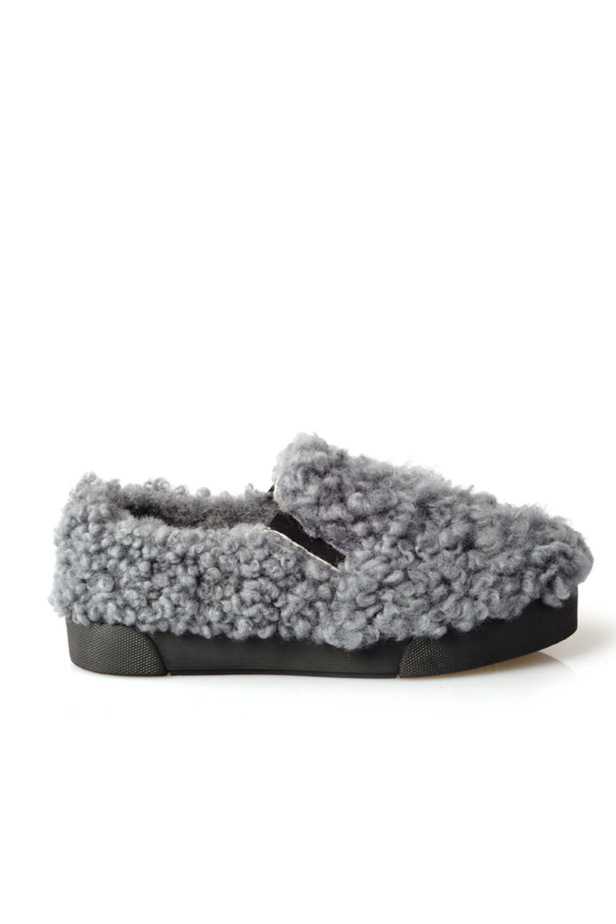 Pegia Women Sneakers From Genuine Fur Gray