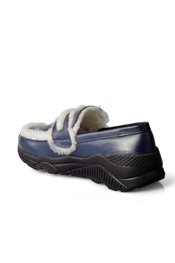 Pegia Women Sneakers From Genuine Leather And Fur Navy blue