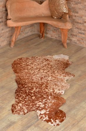 Erdogan Deri Decorative Calfskin Rug Brown