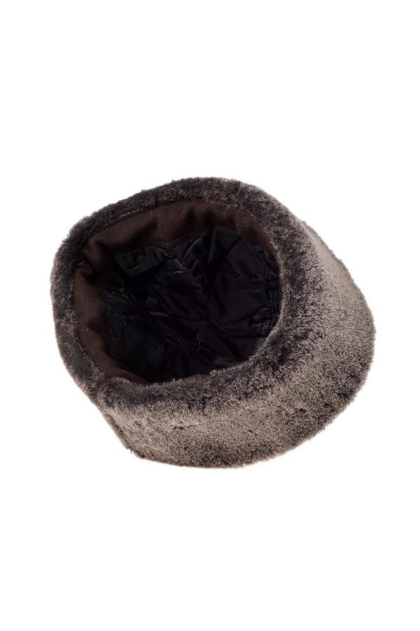 Pegia Ottoman Hat From Genuine Leather And Fur Black