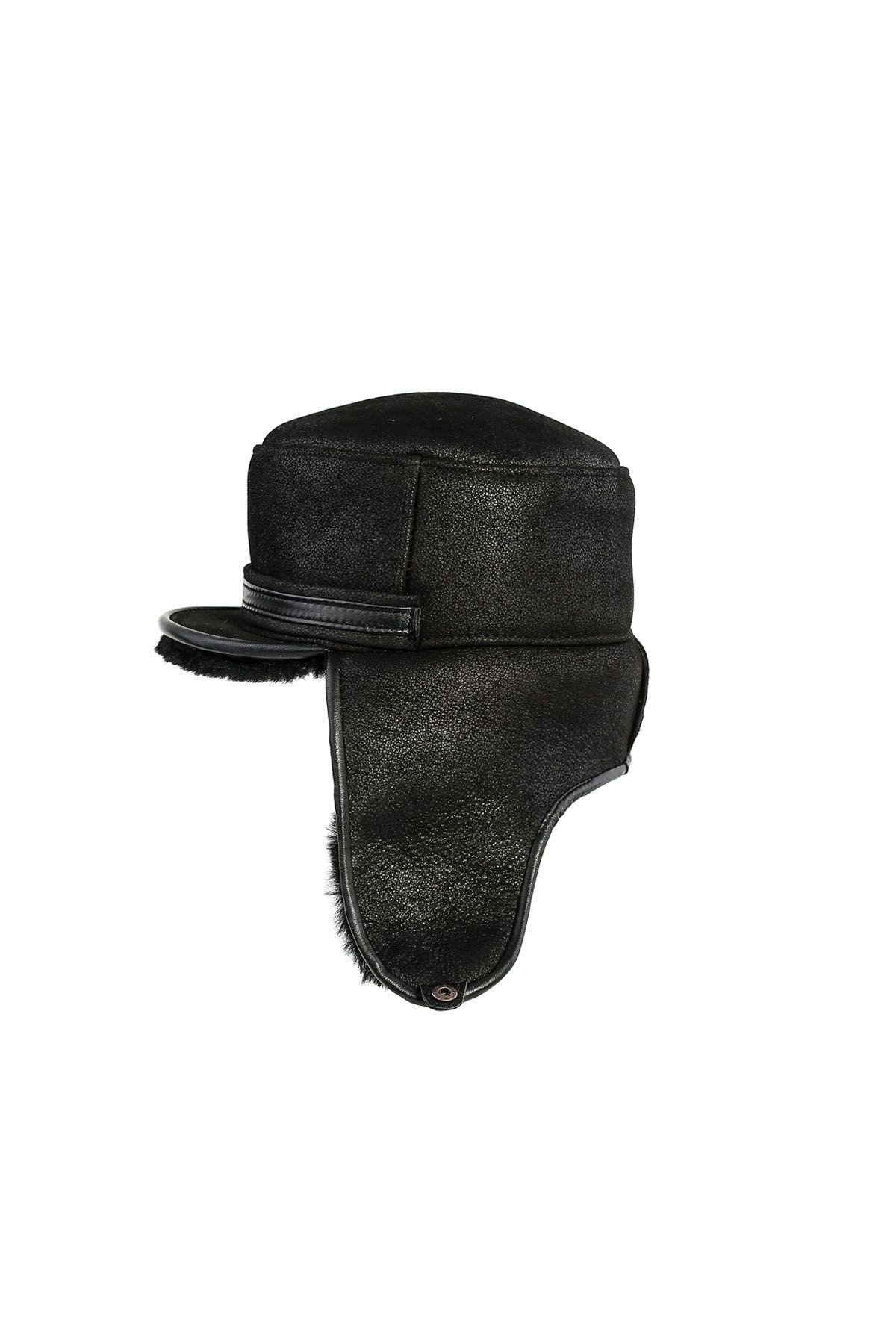 Pegia Hakiki Vintage Deri Kulaklıklı Şapka 18AS14 Siyah