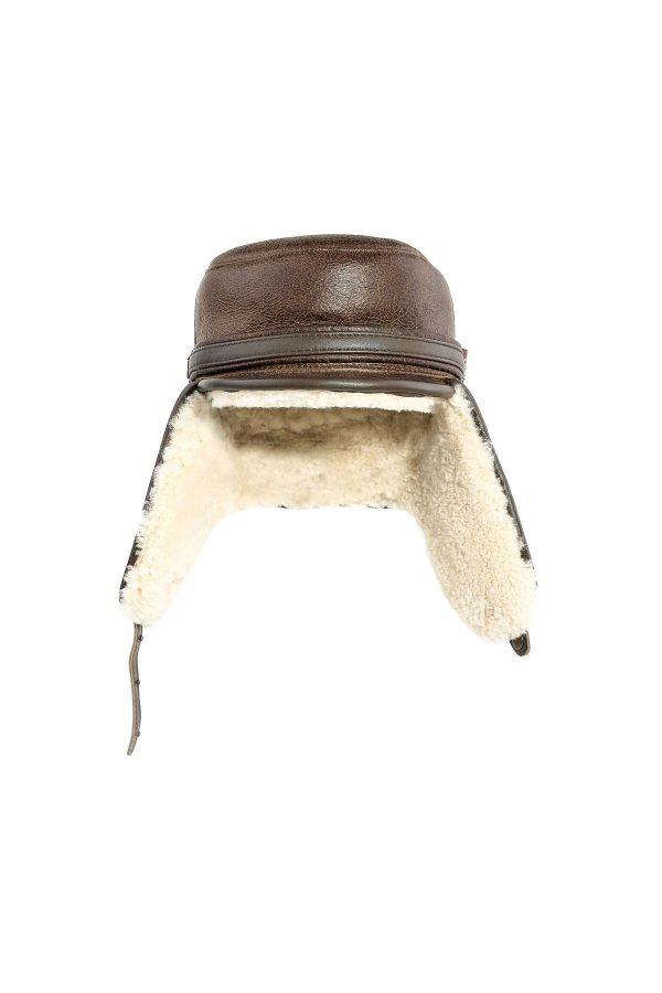 Pegia Hakiki Vintage Deri Kulaklıklı Şapka  Kahve