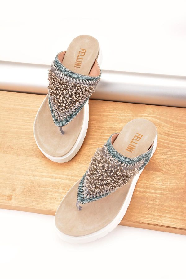 Fln Women Slippers From Genuine Leather Decorated With Beads Blue