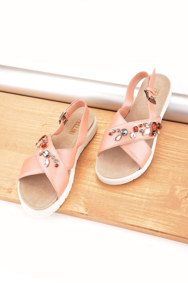 Fln Sandals From Genuine Leather Decorated With Stones Pink