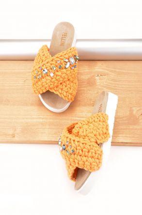 Fln Женские Тапочки Из Натуральной Кожи и Хлопкового Шнура Оранжевый