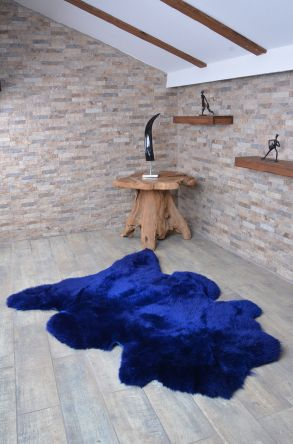 Erdogan Deri Decorative Sheepskin Rug Navy blue