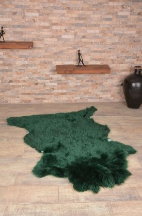 Erdogan Deri Decorative Sheepskin Rug Green