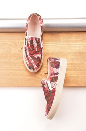 Art Goya Women Sneakers With Flower Pattern Red