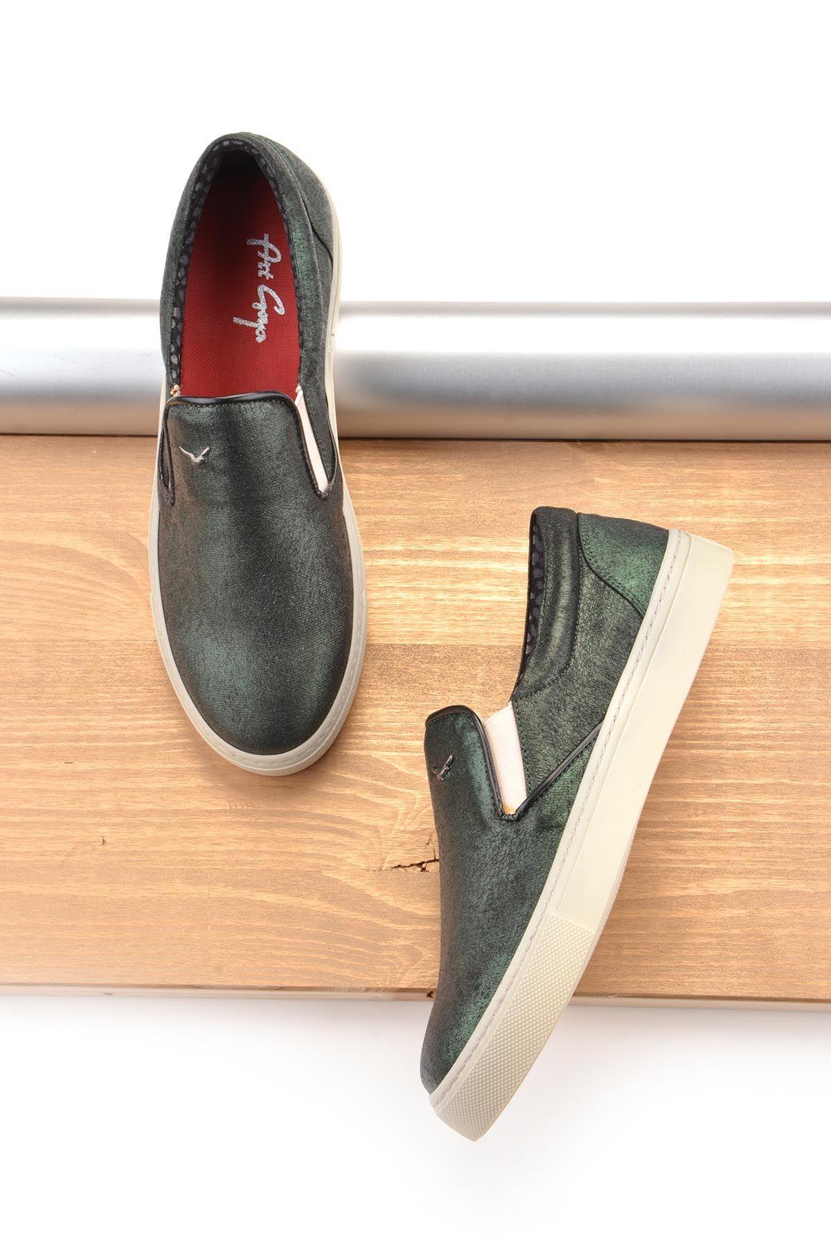 Art Goya Simli Bayan Sneaker  Yeşil
