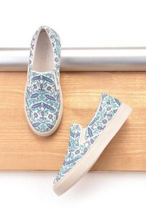 Art Goya Women Sneakers With Flower Pattern Green