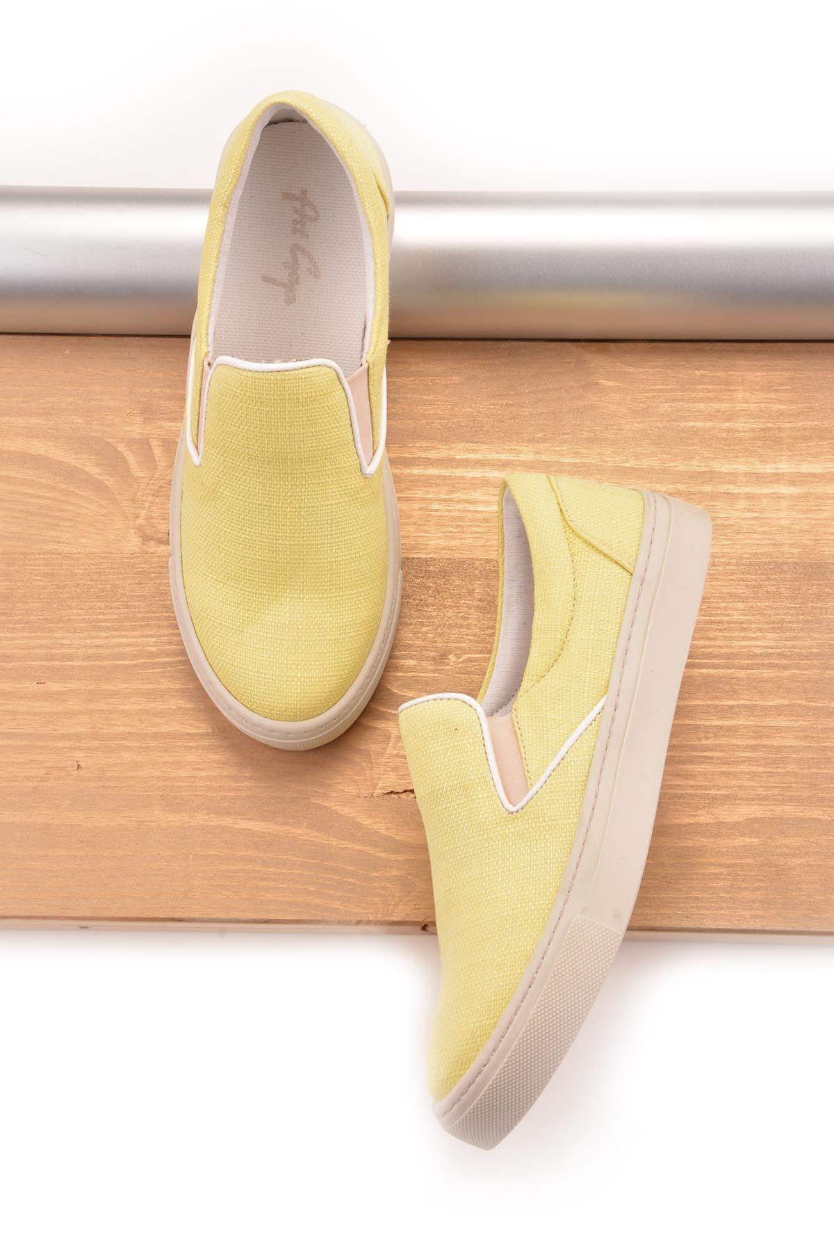 Art Goya Keten Bayan Sneaker  Sarı