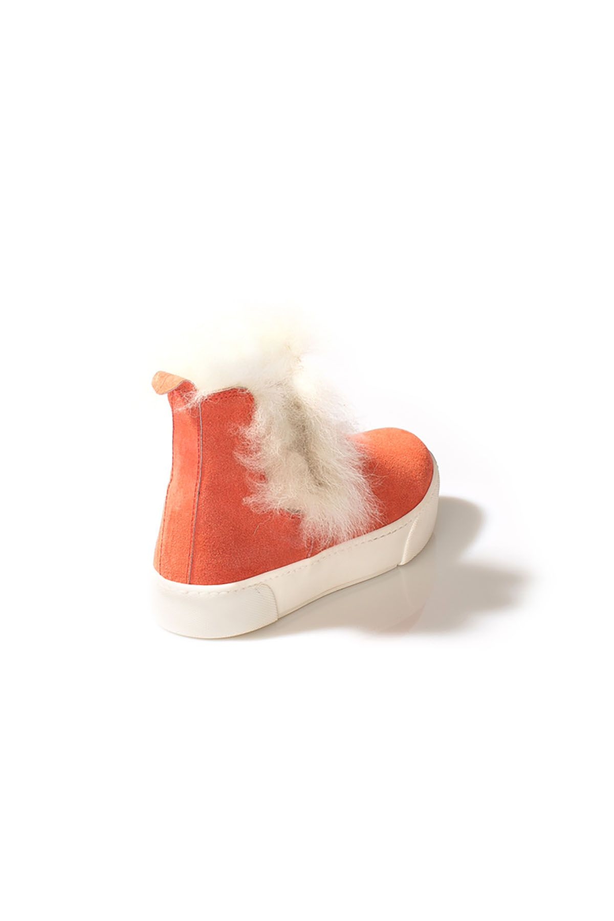 Pegia Women Boots From Genuine Suede Decorated With Genuine Toscana Fur Orange