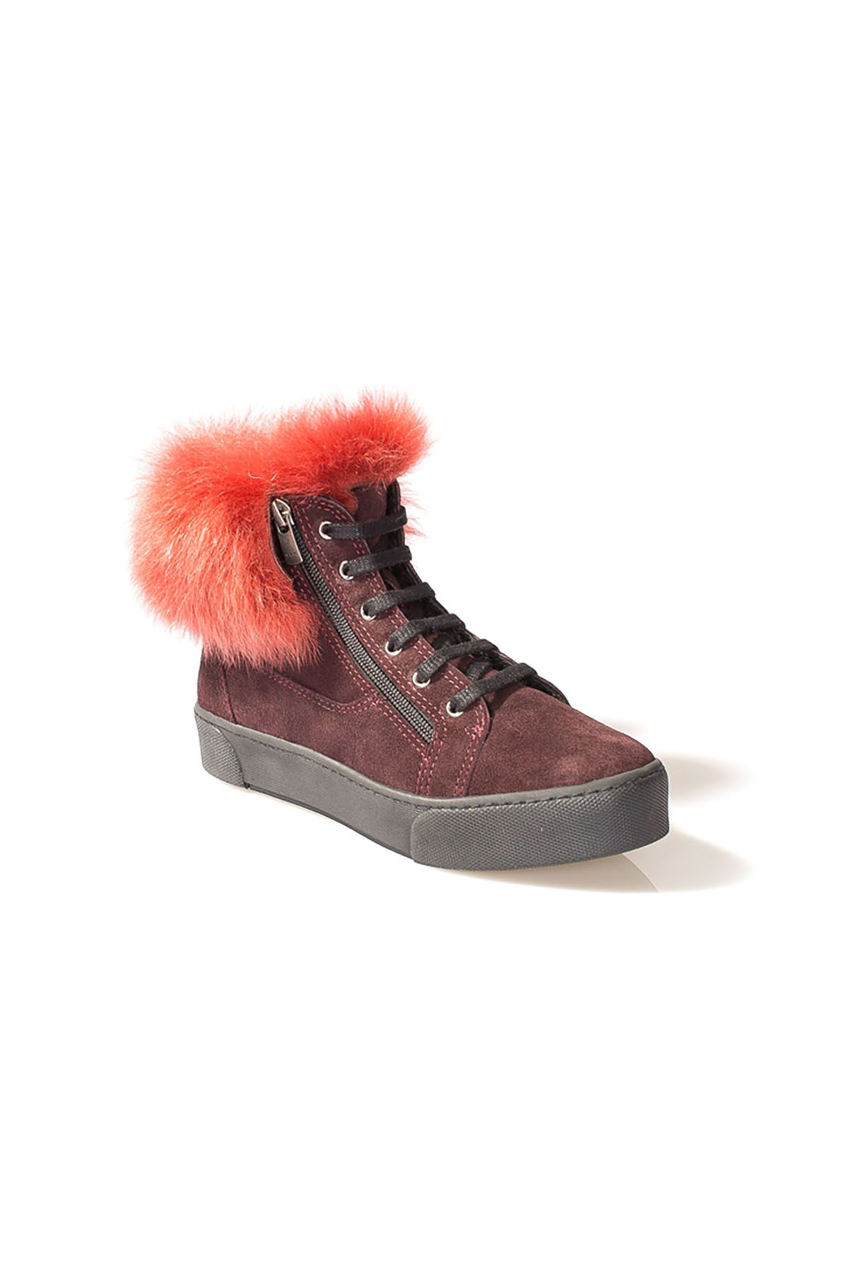 Pegia Women Boots From Genuine Suede Decorated With Genuine Toscana Fur Claret red